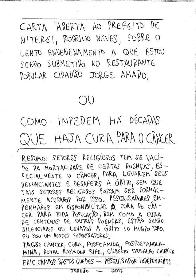 Carta Aberta ao Prefeito Rodrigo Neves sobre o Lento Envenenamento a que Estou Sendo Submetido OU Como Impedem há Décadas ...