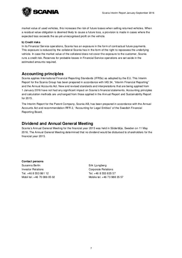Scania interim report january september 2016