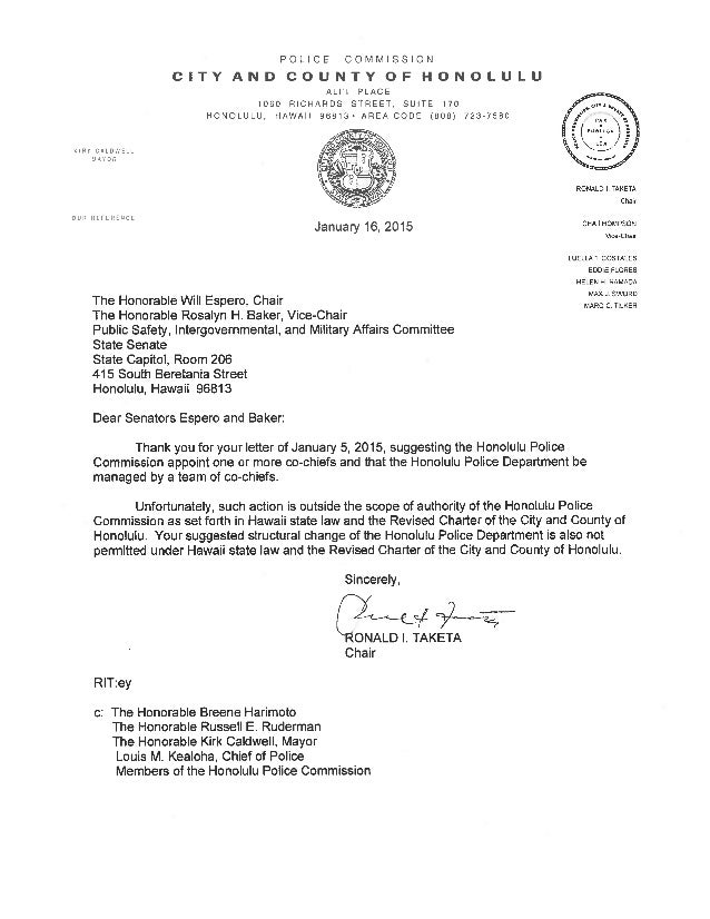 honolulu police commission letter