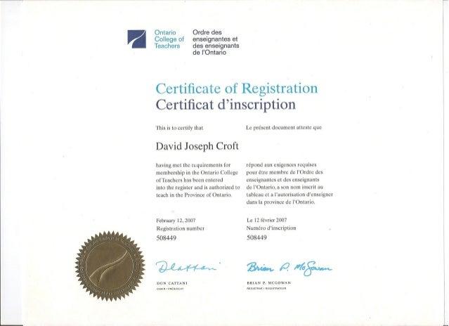 ontario college of teachers certificate