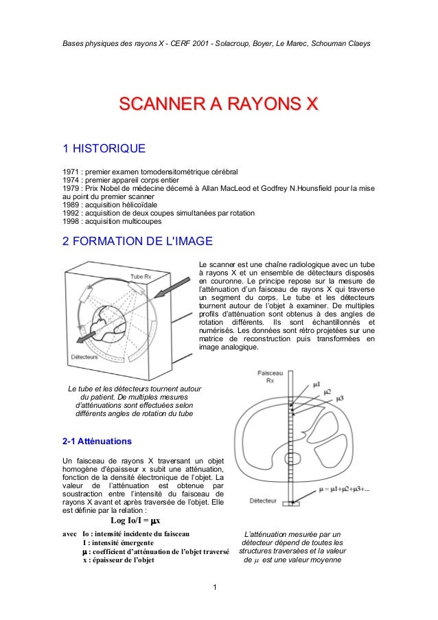 Bases physiques des rayons X - CERF 2001 - Solacroup, Boyer, Le Marec, Schouman Claeys 1 SSCCAANNNNEERR AA RRAAYYOONNSS XX...