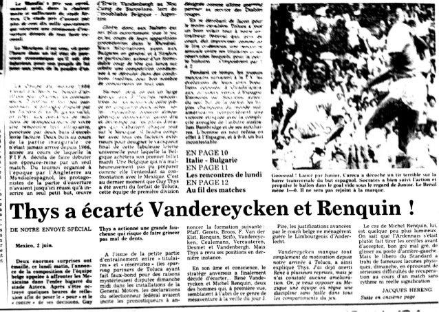 Thys a écarté Vandereycken et Renquin !