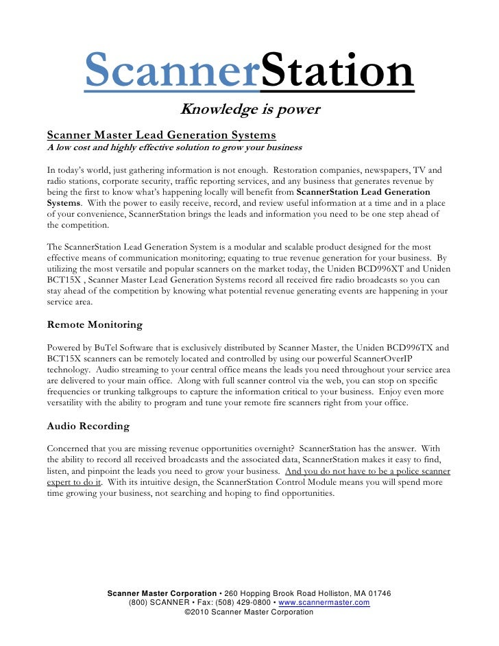 ScannerStation                                    Knowledge is power Scanner Master Lead Generation Systems A low cost and...