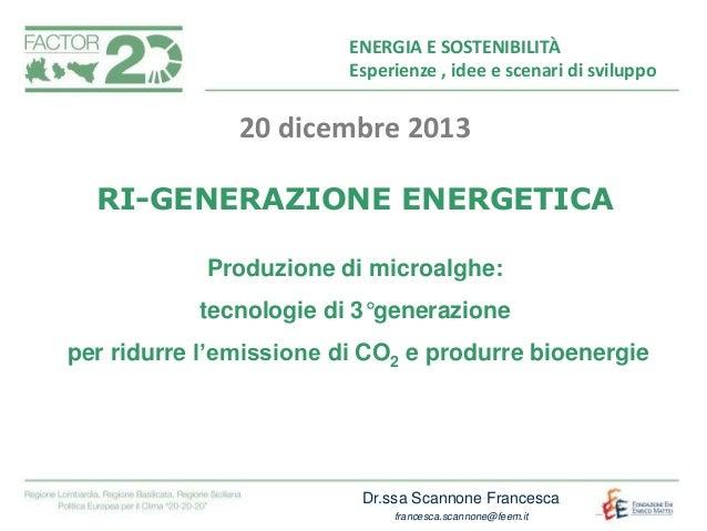 Titolo ENERGIA E SOSTENIBILITÀ capitolo Esperienze , idee e scenari di sviluppo  20 dicembre 2013 RI-GENERAZIONE ENERGETIC...