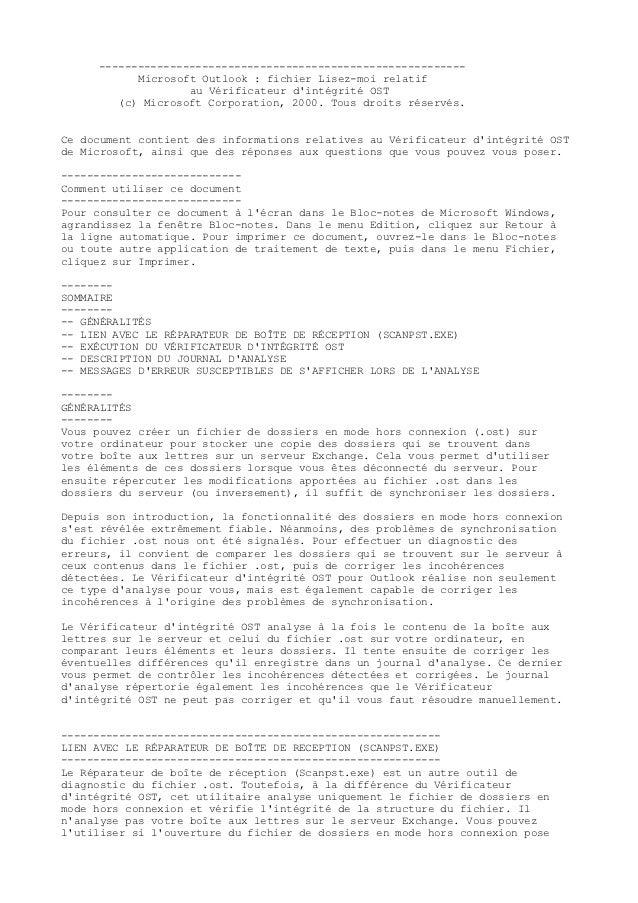 ---------------------------------------------------------           Microsoft Outlook : fichier Lisez-moi relatif         ...