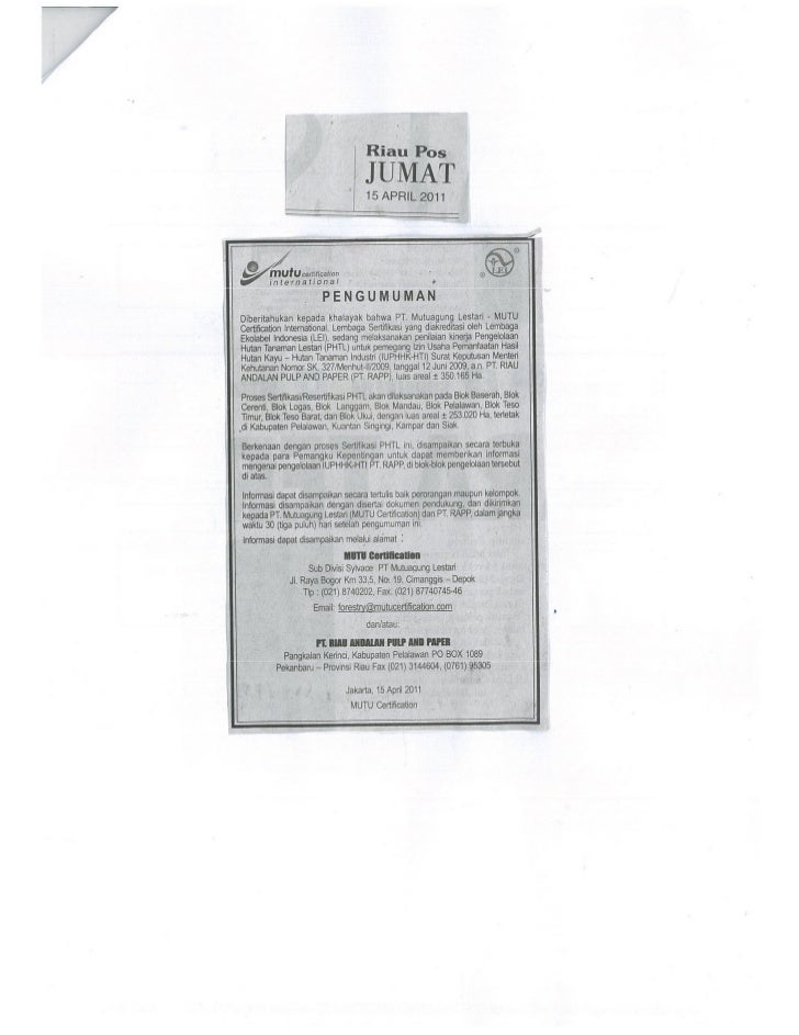Scan pengumuman riau pos Pengumuman Publik LEI - RAPP