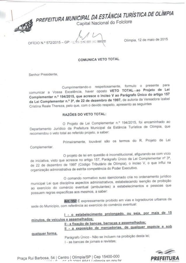 rum MUNICIPAL DA ESTÂNCIA rurais TICA os OLÍMPIA  Capital Nacional do Folclore  W  OFÍCIO N. ° 572/2015 - GP =  2-7:: : : ...