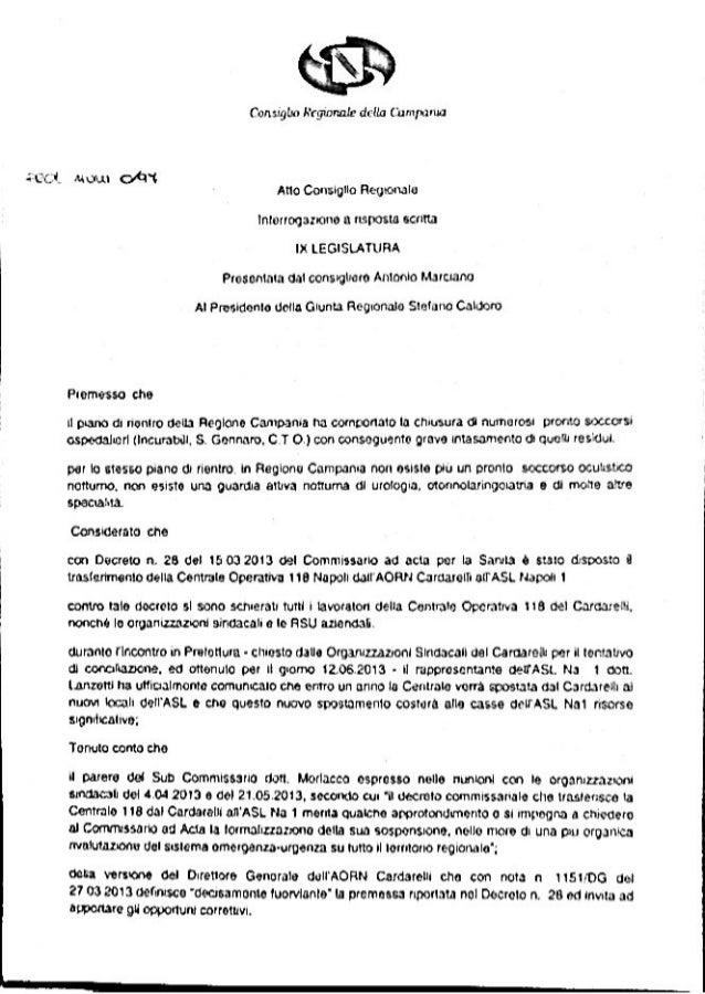 """Antonio Marciano - Interrogazione sul caso """"Cardarelli"""" al Governatore Stefano Caldoro"""