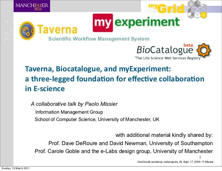 Scientific Workflow Management System                 Taverna, Biocatalogue, and myExperiment:                 a t...