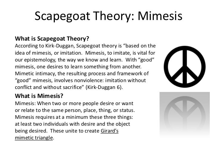 """Scapegoat Theory: Mimesis<br />What is Scapegoat Theory?<br />According to Kirk-Duggan, Scapegoat theory is """"based on the ..."""