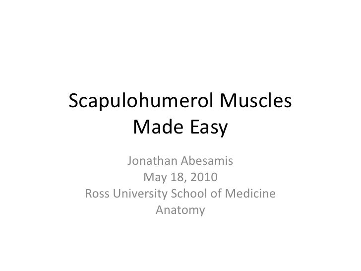 Scapulohumerol MusclesMade Easy<br />Jonathan Abesamis<br />May 18, 2010<br />Ross University School of Medicine<br />Anat...