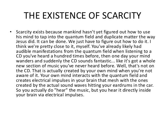 Scarcity problem essay
