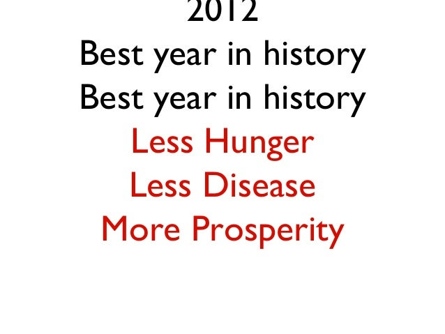 2012Best year in historyBest year in history   Less Hunger   Less Disease More Prosperity