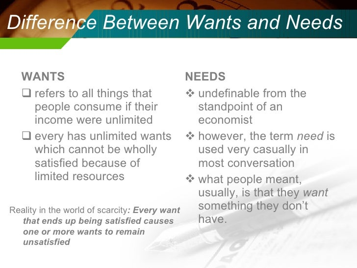 Scarcity, Wants, & Needs