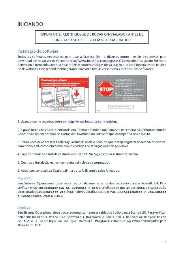 Manual da interface Focusrite Scartlett 2i4 (PORTUGUÊS)