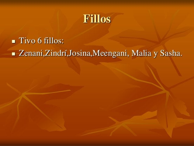 Fillos     Tivo 6 fillos: Zenani,Zindrí,Josina,Meengani, Malia y Sasha.