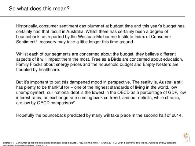 So what does this mean? Historically, consumer sentiment can plummet at budget time and this year's budget has certainly h...
