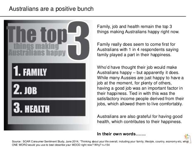 """Australians are a positive bunch Source : SCAR Consumer Sentiment Study, June 2014, """"Thinking about your life overall, inc..."""