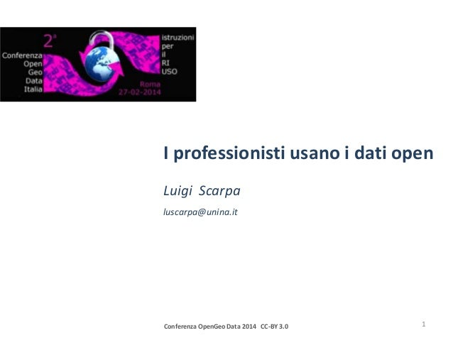 I professionisti usano i dati open Luigi Scarpa luscarpa@unina.it  Conferenza OpenGeo Data 2014 CC-BY 3.0  1