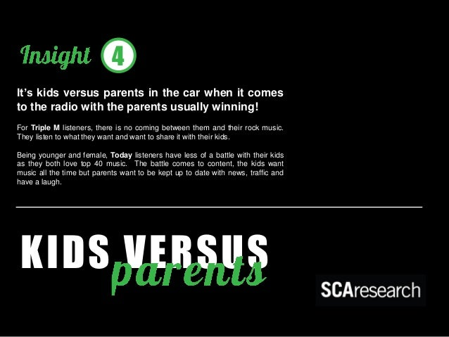 KIDS VERSUS  It's kids versus parents in the car when it comes to the radio with the parents usually winning!  For Triple ...