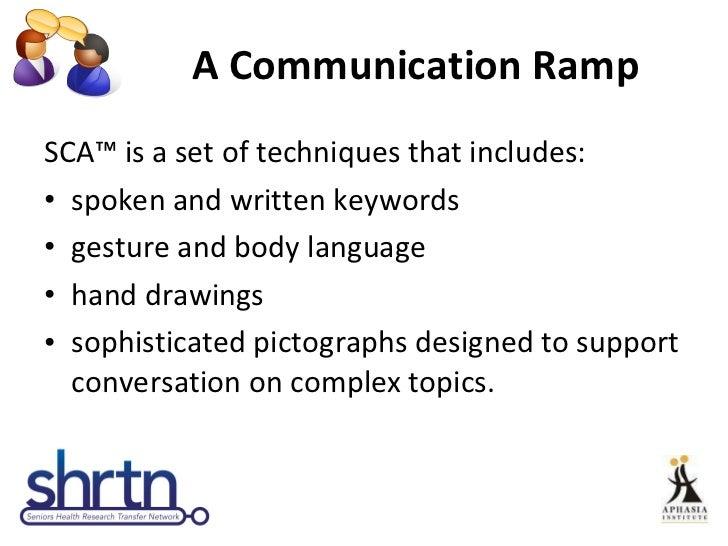 A Communication Ramp <ul><li>SCA™ is a set of techniques that includes: </li></ul><ul><li>spoken and written keywords </li...