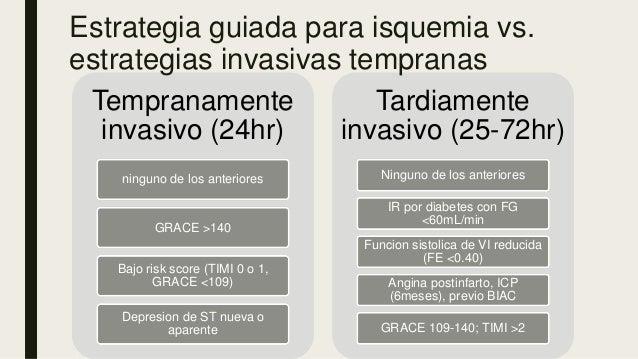 Tempranamente invasivo (24hr) ninguno de los anteriores GRACE >140 Bajo risk score (TIMI 0 o 1, GRACE <109) Depresion de S...