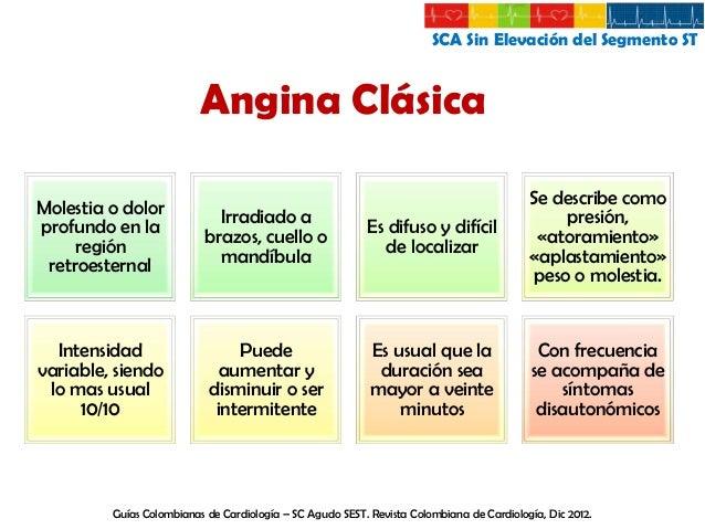 SCA Sin Elevación del Segmento ST  Angina Estable Se describe como aquella que aparece con el ejercicio y cede con el repo...