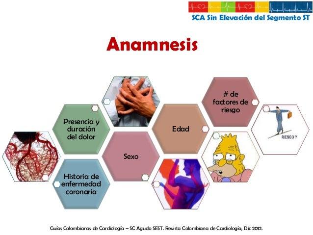 SCA Sin Elevación del Segmento ST  Examen Físico ABC: Vía aérea, respiración y circulación  Signos vitales, apariencia gen...