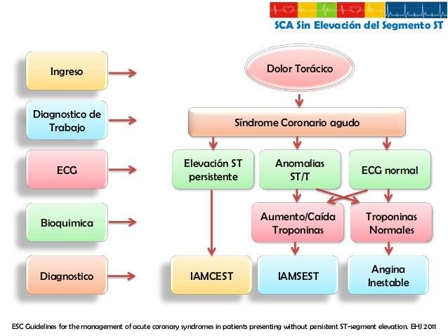 SCA Sin Elevación del Segmento ST  Evaluación de Riesgo Alto Riesgo Historia  • Síntomas isquémicos de manera acelerada en...