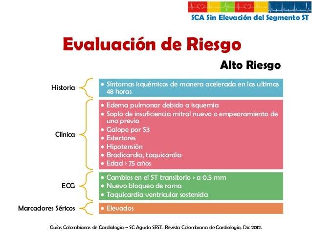 SCA Sin Elevación del Segmento ST  Evaluación de Riesgo Riesgo Intermedio  Historia  Clínica  EKG  • IM previo • Enfermeda...