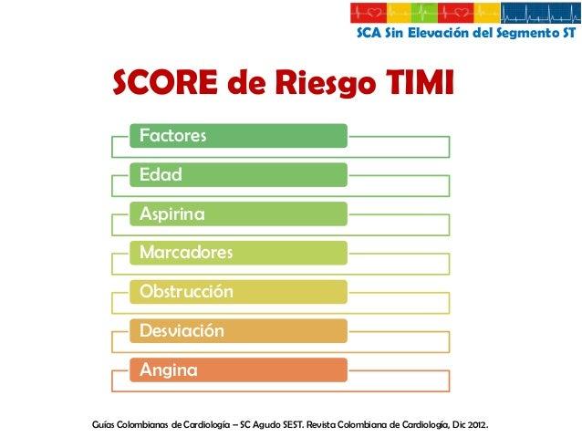SCA Sin Elevación del Segmento ST  SCORE de Riesgo TIMI SCORE DE RIESGO  MUERTE, REINFARTO O ISQUEMIA RECURRENTE A 14 DIAS...