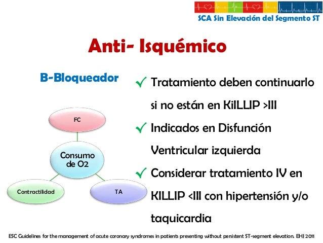 SCA Sin Elevación del Segmento ST  Anti- Isquémico Reducción Precarga y Volumen Telediastólico del VI  Nitratos Tratamient...