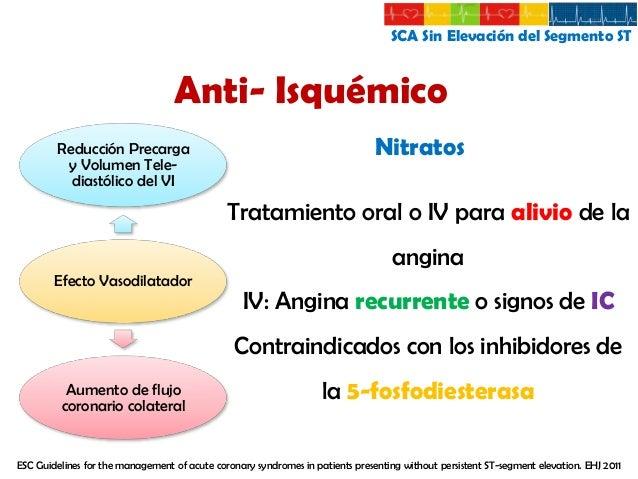 SCA Sin Elevación del Segmento ST  Anti- Isquémico Vasodilatación  Bloqueadores de Canales Ca  √ Elección en angina Vasoes...
