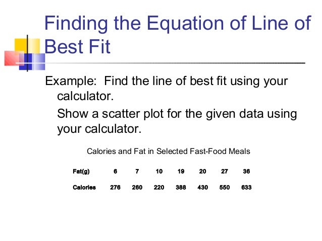 how to find the line of best fit without calculator