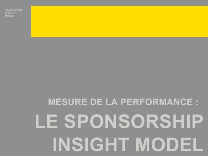 MESURE DE LA PERFORMANCE :   LE SPONSORSHIP INSIGHT MODEL SPONSORSHIP INSIGHT MODEL