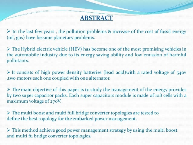 Super capacitors and Battery power management for Hybrid Vehicle Appl…