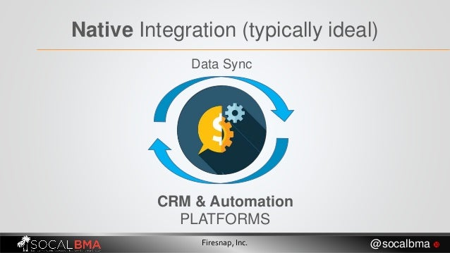 Native Integration (typically ideal) CRM & Automation PLATFORMS Data Sync Firesnap, Inc. @socalbma 
