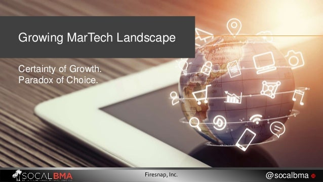 Growing MarTech Landscape Certainty of Growth. Paradox of Choice. Firesnap, Inc. @socalbma 