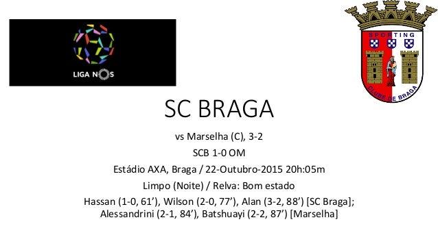 SC BRAGA vs Marselha (C), 3-2 SCB 1-0 OM Estádio AXA, Braga / 22-Outubro-2015 20h:05m Limpo (Noite) / Relva: Bom estado Ha...