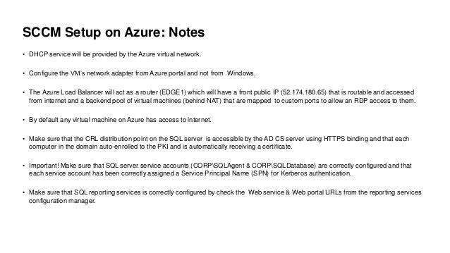 SCCM on Microsoft Azure