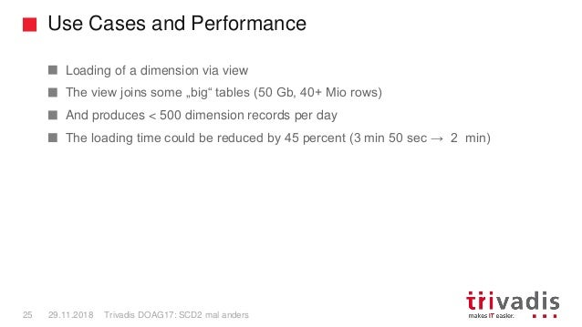 Use Cases and Performance Trivadis DOAG17: SCD2 mal anders25 29.11.2018 Loading of a dimension via view The view joins som...