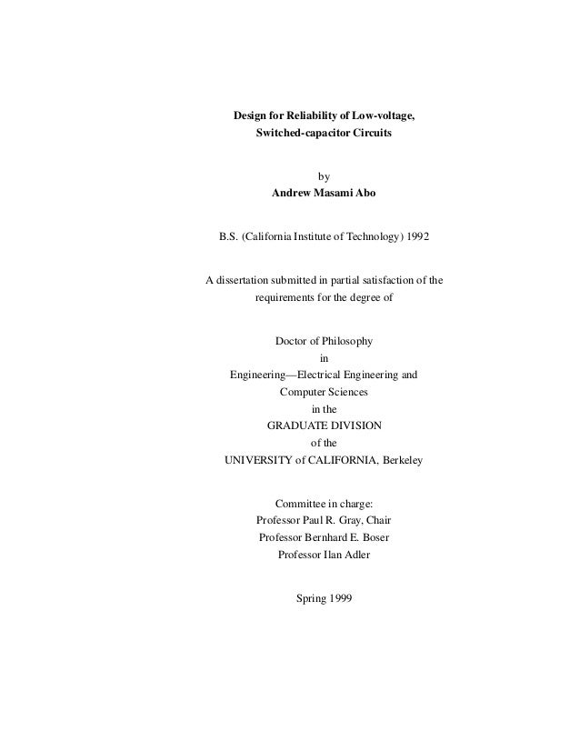 Design for Reliability of Low-voltage, Switched-capacitor Circuits by Andrew Masami Abo B.S. (California Institute of Tech...