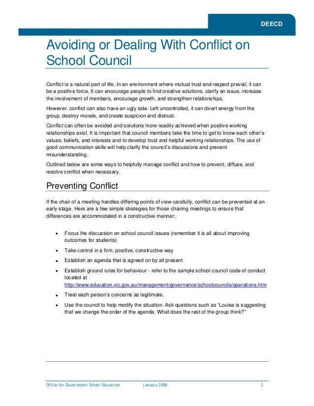 DEECDAvoiding or Dealing With Conflict onSchool CouncilConflict is a natural part of life. In an environment where mutual ...