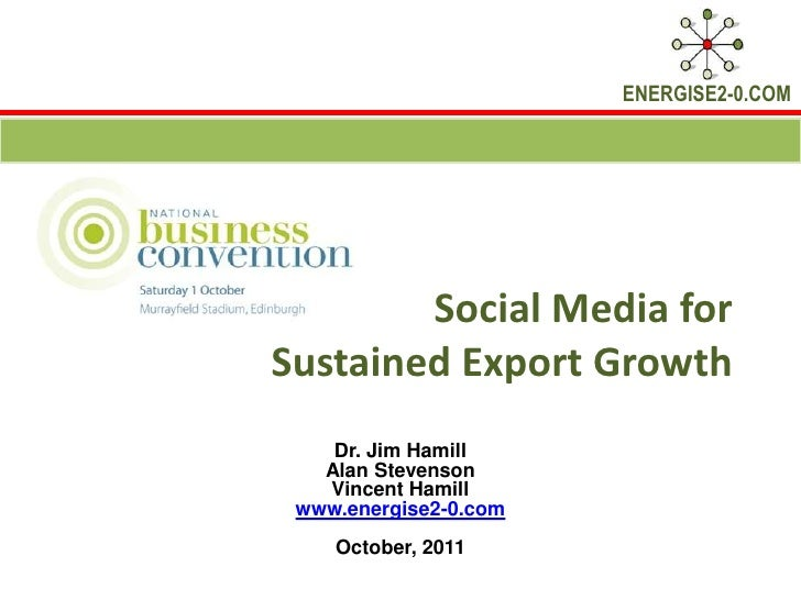 Social Media for Sustained Export Growth<br />Dr. Jim Hamill Alan Stevenson<br />Vincent Hamill<br />www.energise2-0.com<b...