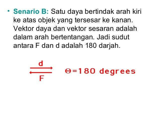 • Senario B: Satu daya bertindak arah kiri  ke atas objek yang tersesar ke kanan.  Vektor daya dan vektor sesaran adalah  ...