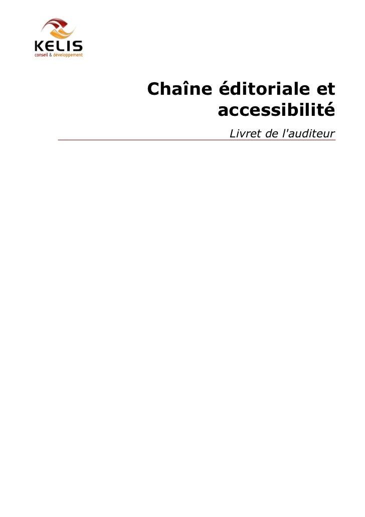 Chaîne éditoriale et       accessibilité        Livret de lauditeur