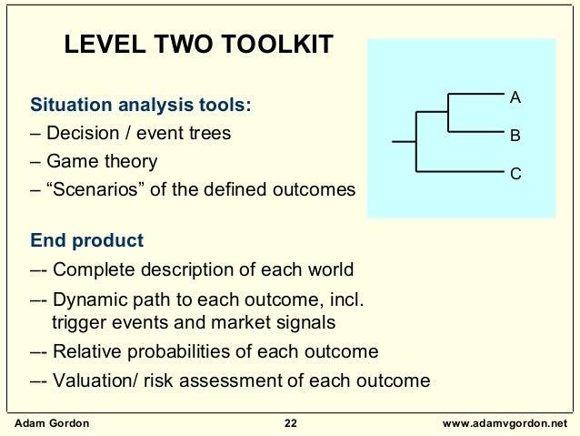 "Adam Gordon 22 www.adamvgordon.net A B C Situation analysis tools: – Decision / event trees – Game theory – ""Scenarios"" of..."