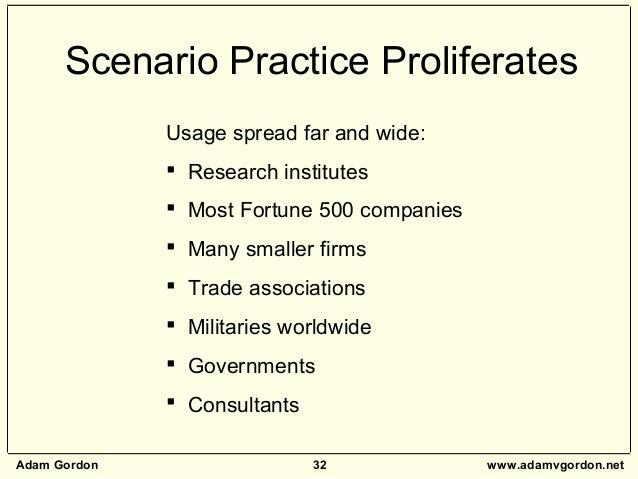 Adam Gordon 32 www.adamvgordon.net Scenario Practice Proliferates Usage spread far and wide:  Research institutes  Most ...