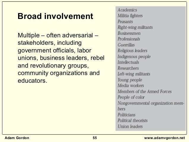 Adam Gordon 55 www.adamvgordon.net Multiple – often adversarial – stakeholders, including government officials, labor unio...