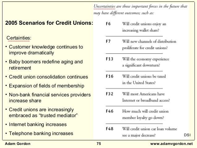 Adam Gordon 75 www.adamvgordon.net 2005 Scenarios for Credit Unions: Certainties: • Customer knowledge continues to improv...